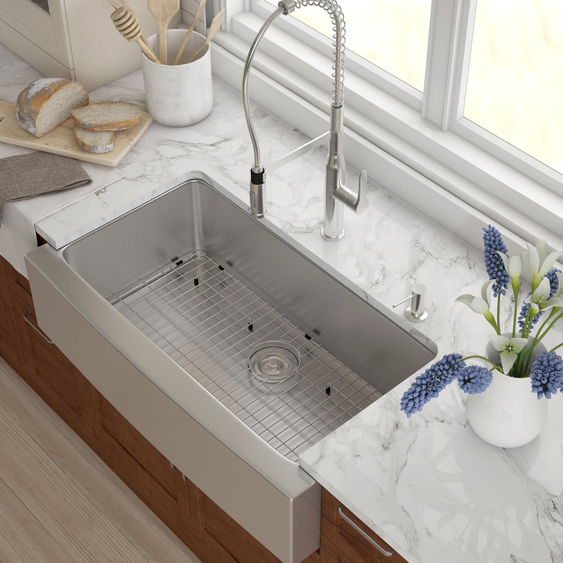 "36"" x 21"" Farmhouse Kitchen Sink with Drain Assembly & Reviews"