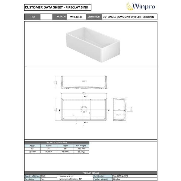 Winpro Fireclay 36 L X 18 W Farmhouse Kitchen Sink Reviews Wayfair