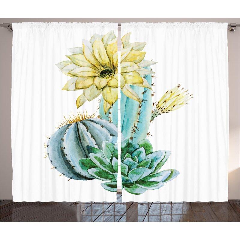 Bungalow Rose Goodman Cactus Graphic Print And Text Semi Sheer Rod Pocket Curtain Panels Wayfair