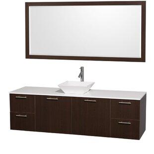 Compare Amare 72 Single Espresso Bathroom Vanity Set with Mirror ByWyndham Collection