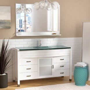 Read Reviews Frausto 55 Single Bathroom Vanity Set with Clear Top and Mirror By Brayden Studio