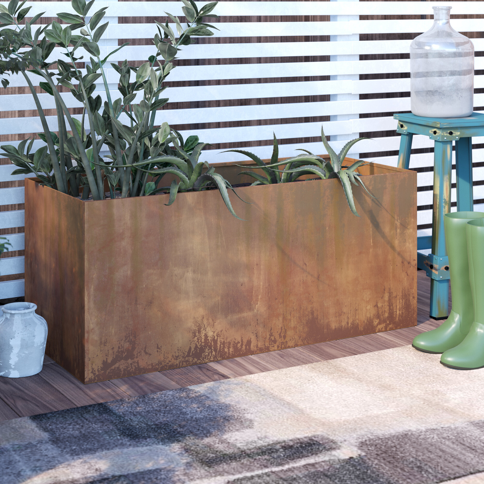 17 Stories Elisabetta Corten Steel Planter Box Reviews Wayfair