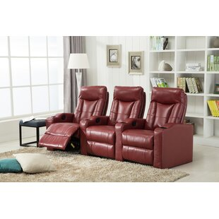 Winston Porter Gel Reclining Leather Home Theater Sofa