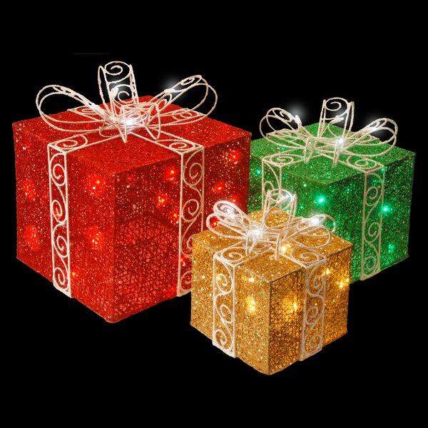 The Holiday Aisle 3 Piece Pre Lit Sisal Gift Box Lighted Display Reviews Wayfair