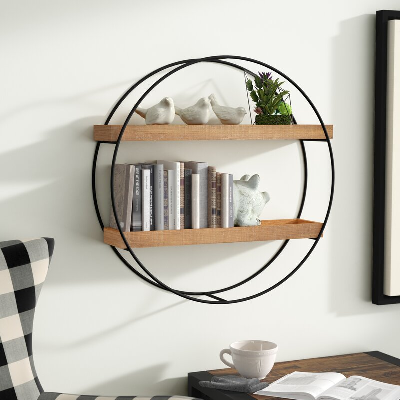 Gracie Oaks Maisha Round Metal and Wood Wall Shelf & Reviews | Wayfair