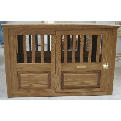 """Solid Wood Pet Crate Classic Pet Beds Size: Small (23"""" H X 23"""" W X 29"""" L), Color: Mahogany, Door Location: Side - Right Side"""