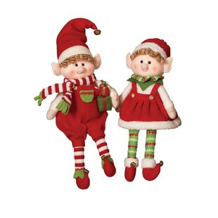 2 piece plush elves figurine set