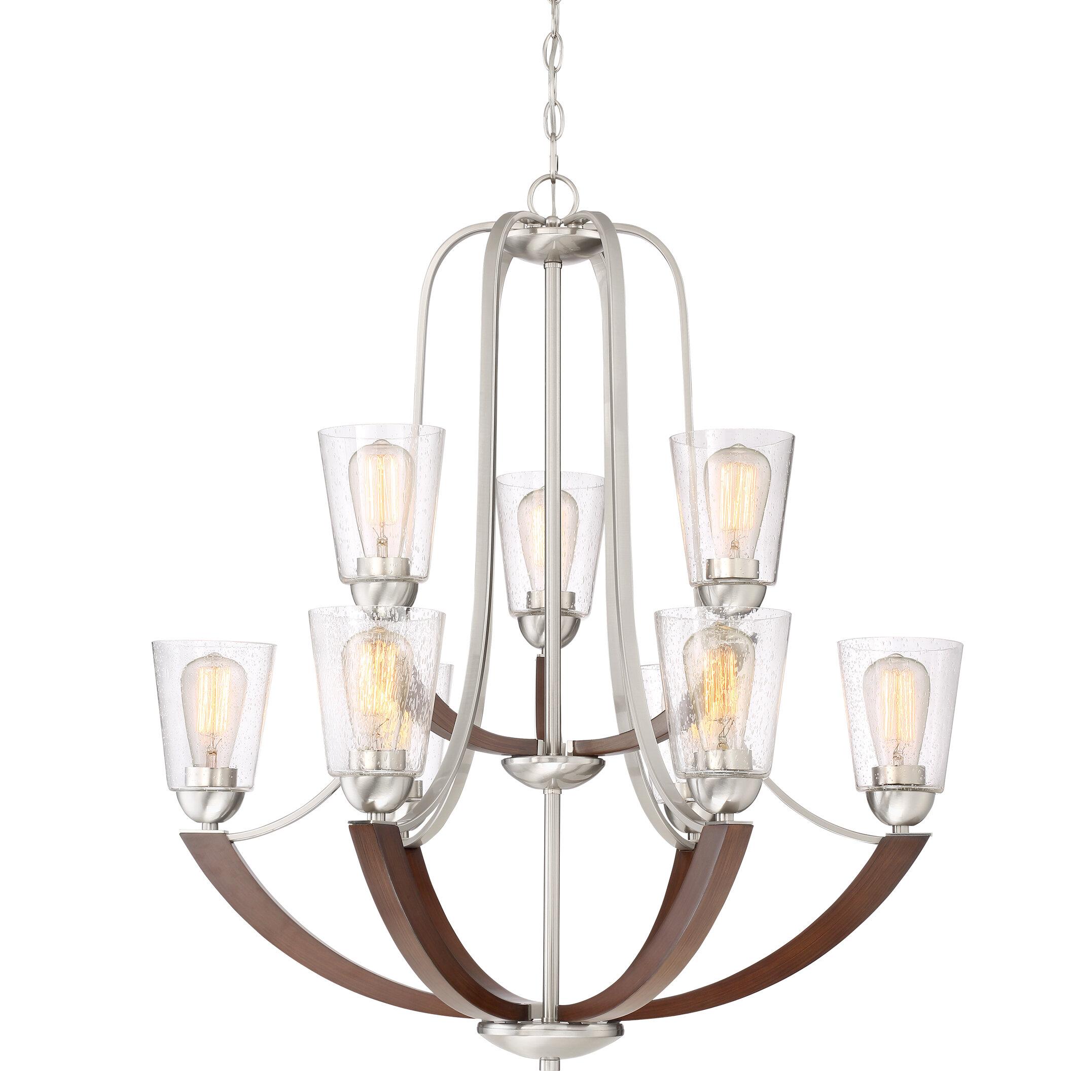 Loon peak chryses brushed nickel 9 light shaded chandelier wayfair
