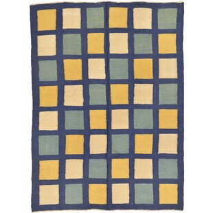 One-of-a-Kind Dora Hand-Knotted 4'11 x 6'8 Wool Navy Blue/White/Yellow Area Rug Isabelline