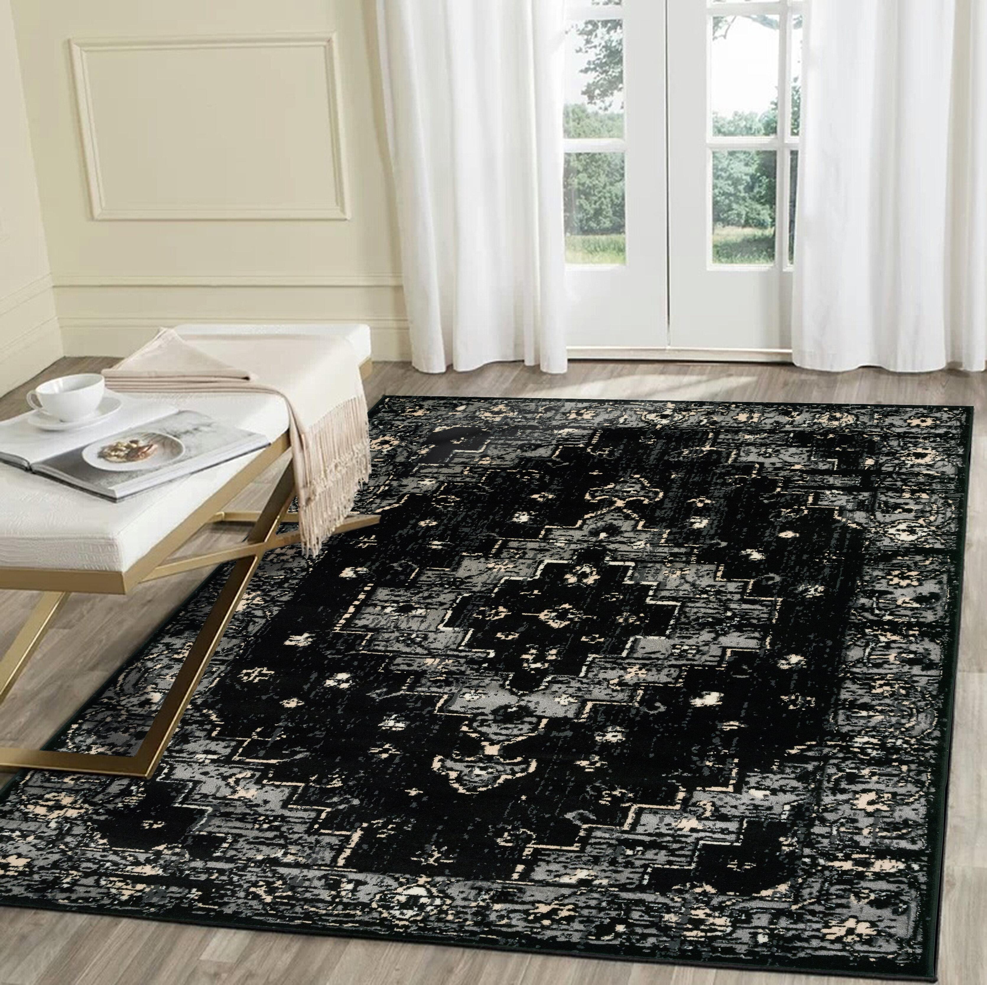 Astoria Grand Rueben Oriental Black Gray Area Rug Reviews Wayfair