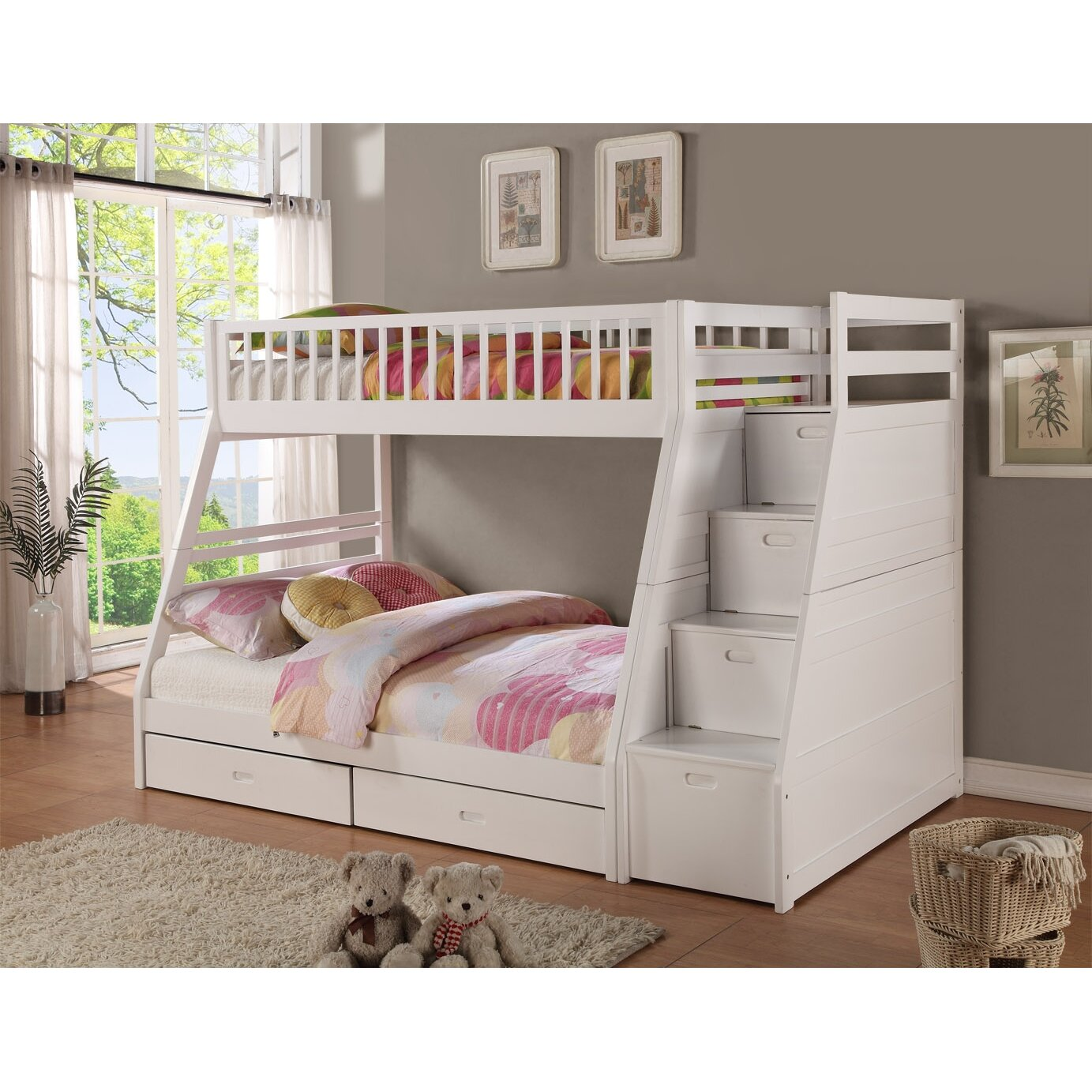 Twin Over Full Bunk Bed With Stairs And Trundle - Pierre twin over full bunk bed with storage