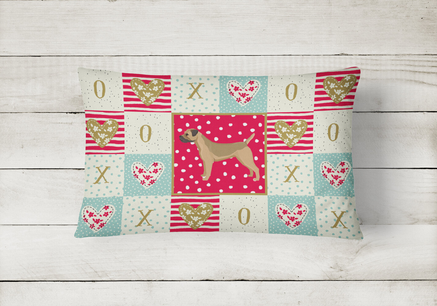 The Holiday Aisle Junayd Border Terrier Love Outdoor Rectangular Cushion With Filling Wayfair