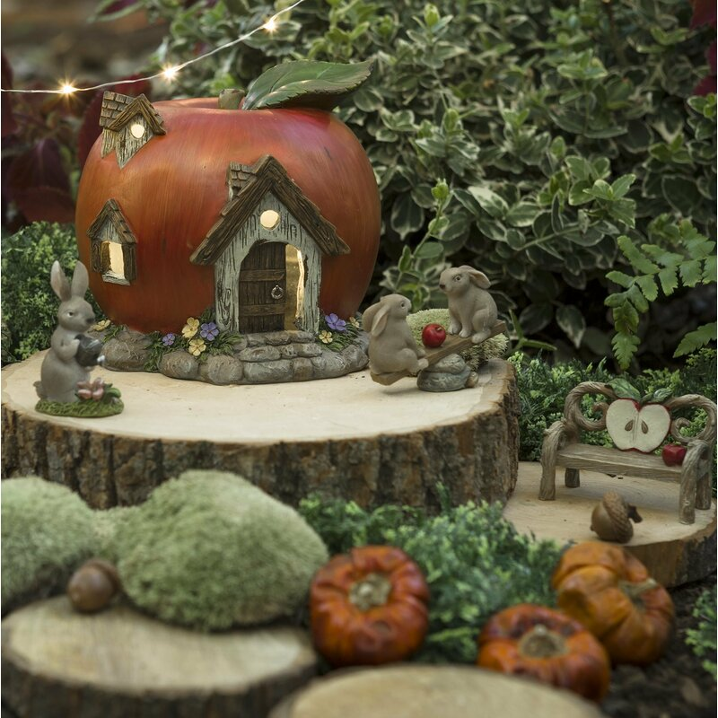 Attrayant Miniature Apple House 4 Pieces Fairy Garden Set