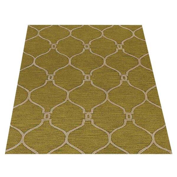 Everly Quinn Leevell Geometric Handmade Tufted Wool Green Area Rug Wayfair