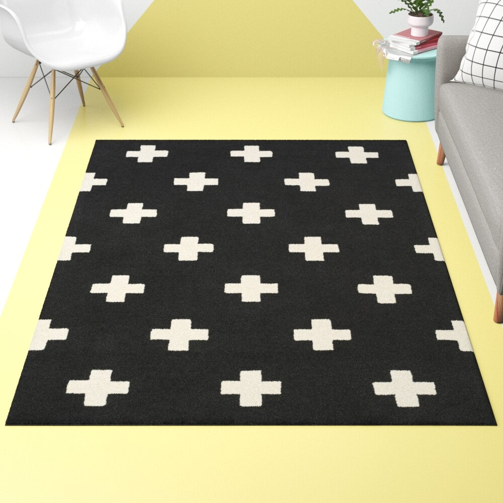 Hashtag Home Sinclaire Geometric Handmade Tufted Wool Black Area Rug Reviews Wayfair
