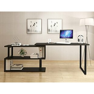Ivy Bronx Canale Modern Rotating Corner L-Shaped Desk with Bookshelves