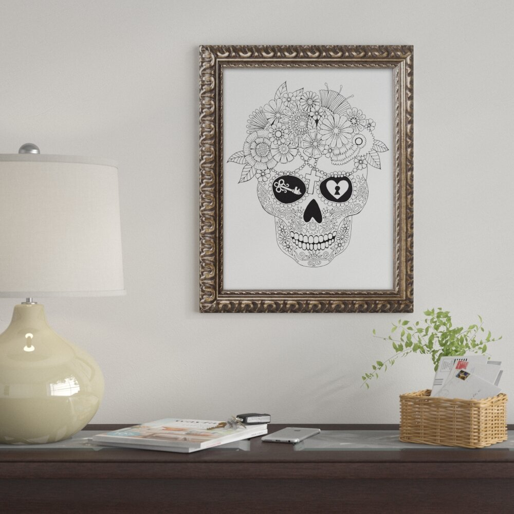 East Urban Home U0027Lost Love Sugar Skullu0027 Framed Graphic Art | Wayfair