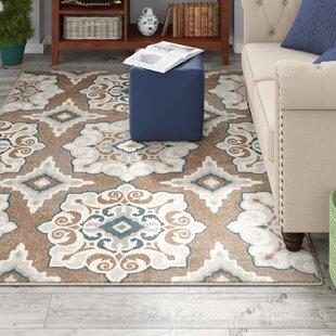 Reviews Caffey Cerulean Blue/Taupe Area Rug By Andover Mills