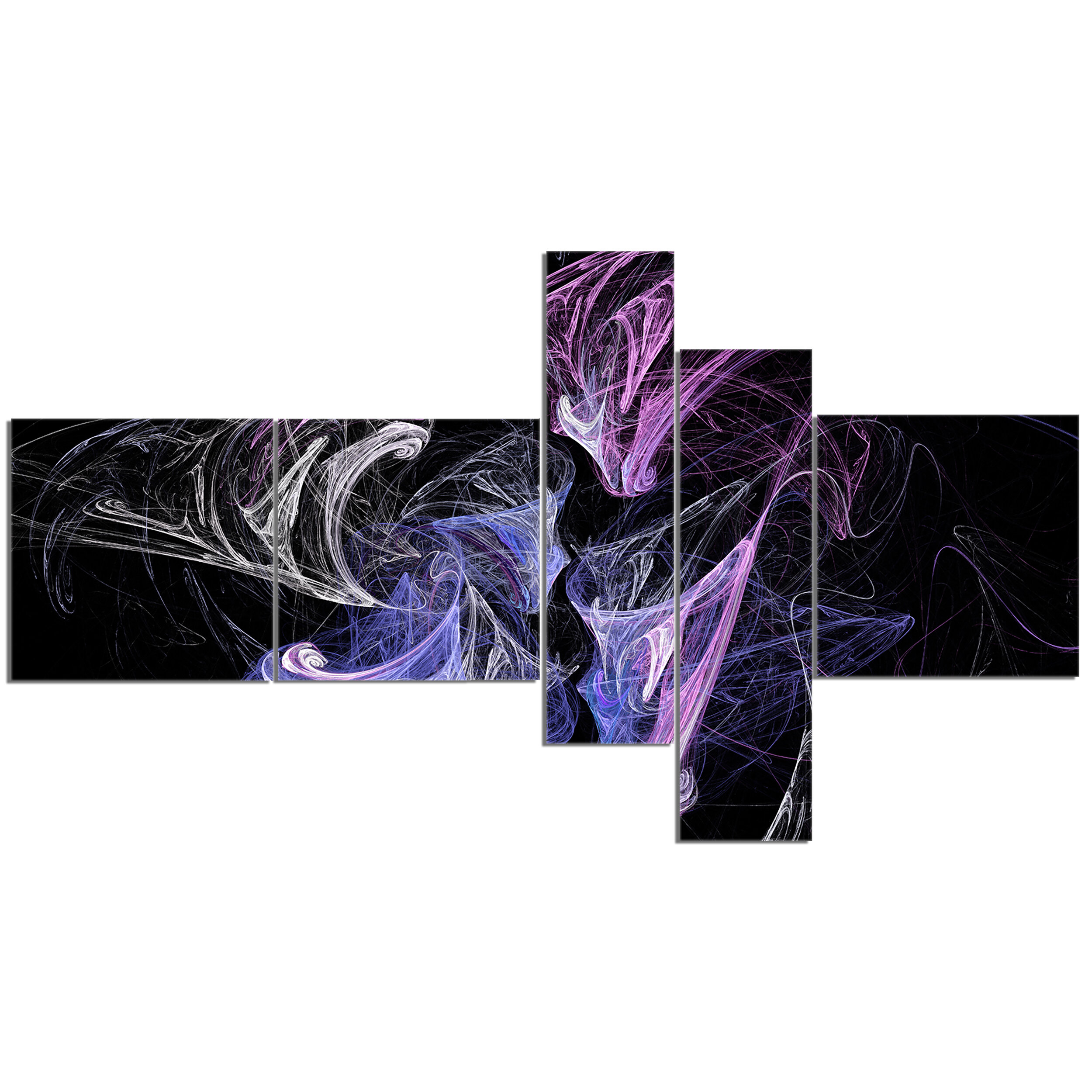 East Urban Home Billowing Smoke Blue Purple Graphic Art Print Multi Piece Image On Canvas Wayfair