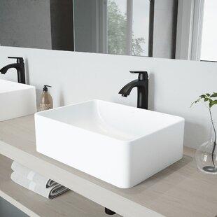 Amaryllis Stone Rectangular Vessel Bathroom Sink with Faucet VIGO