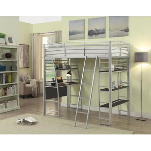 Conkling Twin Workstation Loft Bed with Bookcase