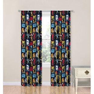 Galactic Grid Room Darkening Curtain Panels (Set Of 2)
