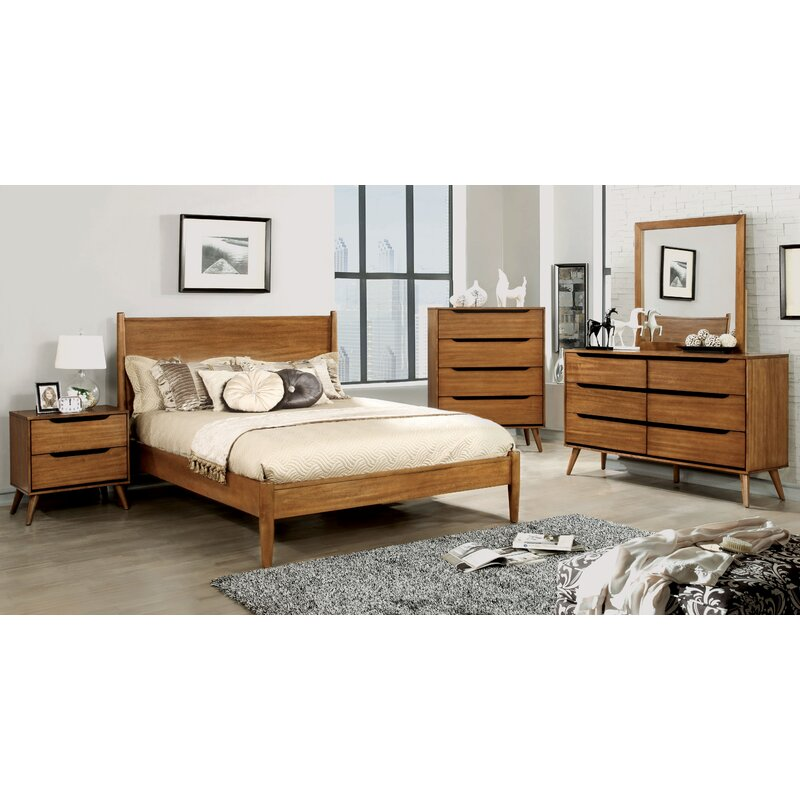 Mercury Row Oak Brook Mid Century Modern Platform Configurable Bedroom Set Reviews Wayfair