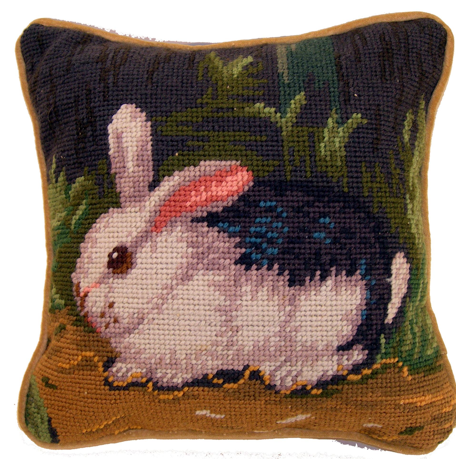 August Grove Tamsin Handmade Needlepoint Rabbit Cotton Wool Throw Pillow Reviews Wayfair
