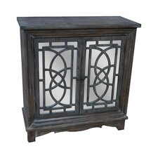 Benjamin Rustic Wood 2 Patterned Mirrored Door Cabinet by Bungalow Rose