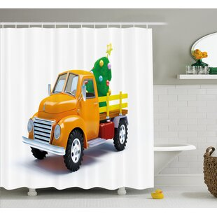 Christmas Vintage Truck Single Shower Curtain