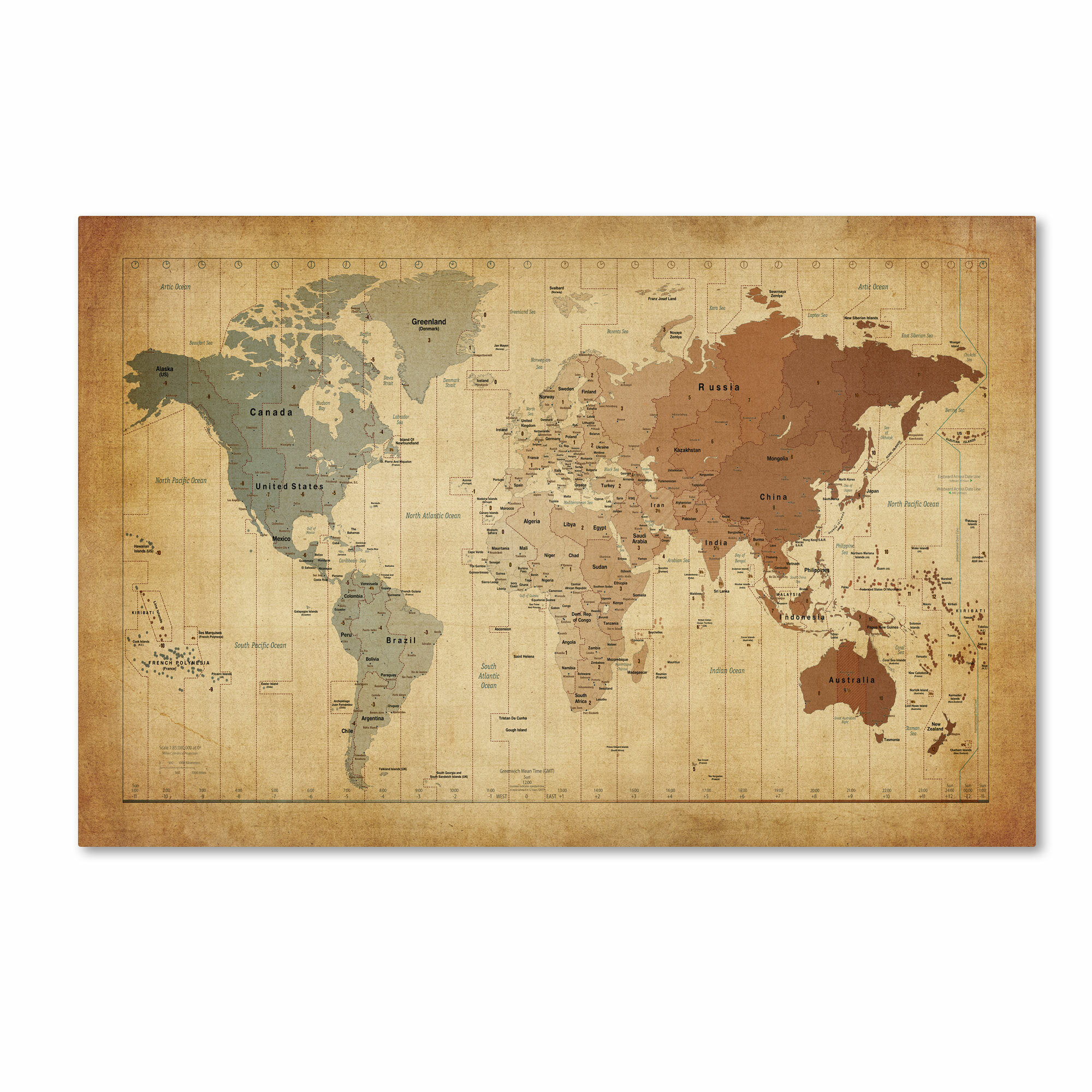 Time Zones Map Of The World Graphic Art On Wrapped Canvas Reviews