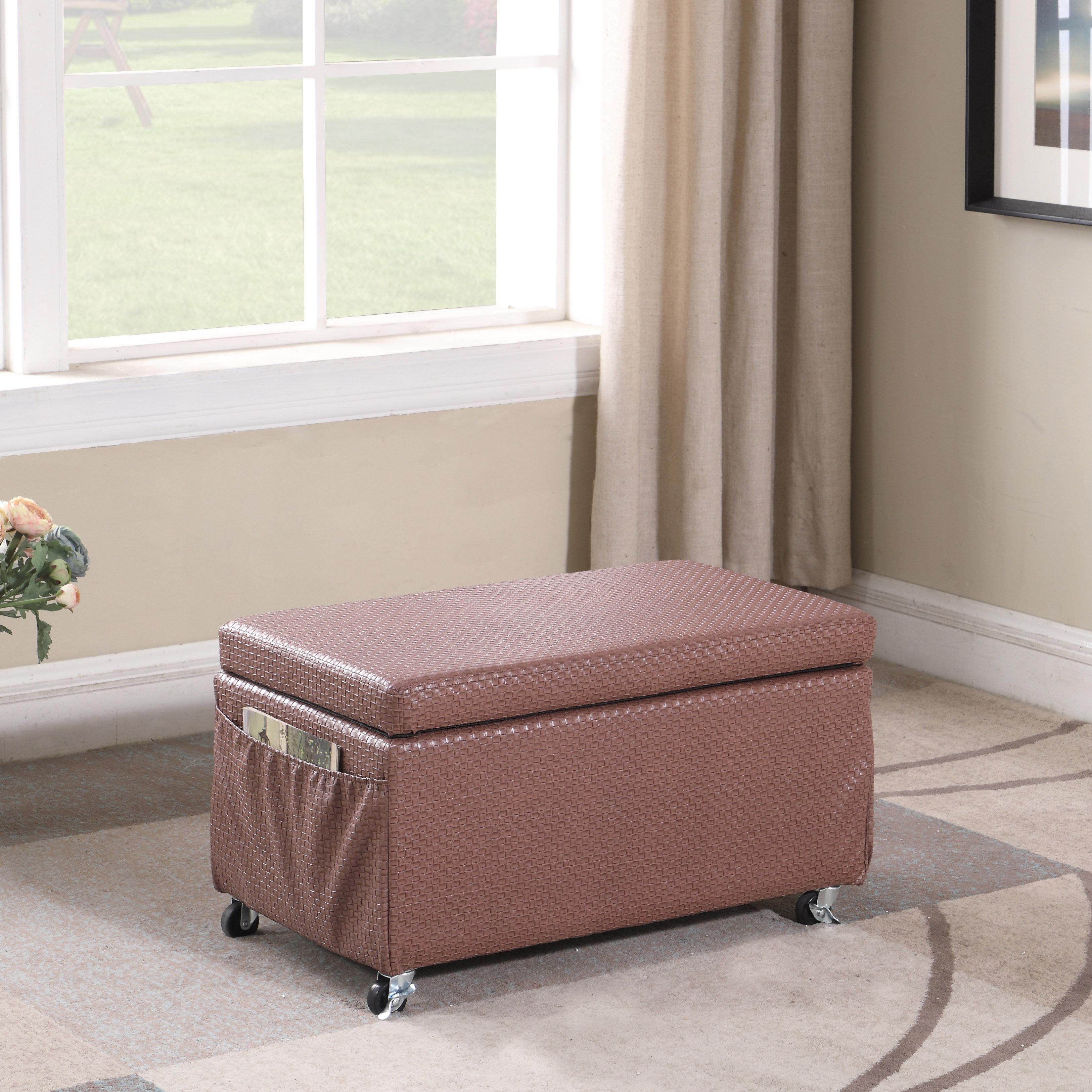 Winston Porter Cian Basketweave Faux Leather Storage Bench Wayfair