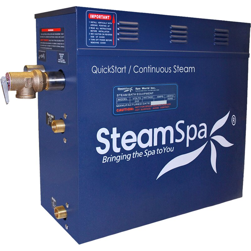 Steam Spa Indulgence 6 Kw Quickstart Steam Bath Generator Package With Built In Auto Drain Wayfair