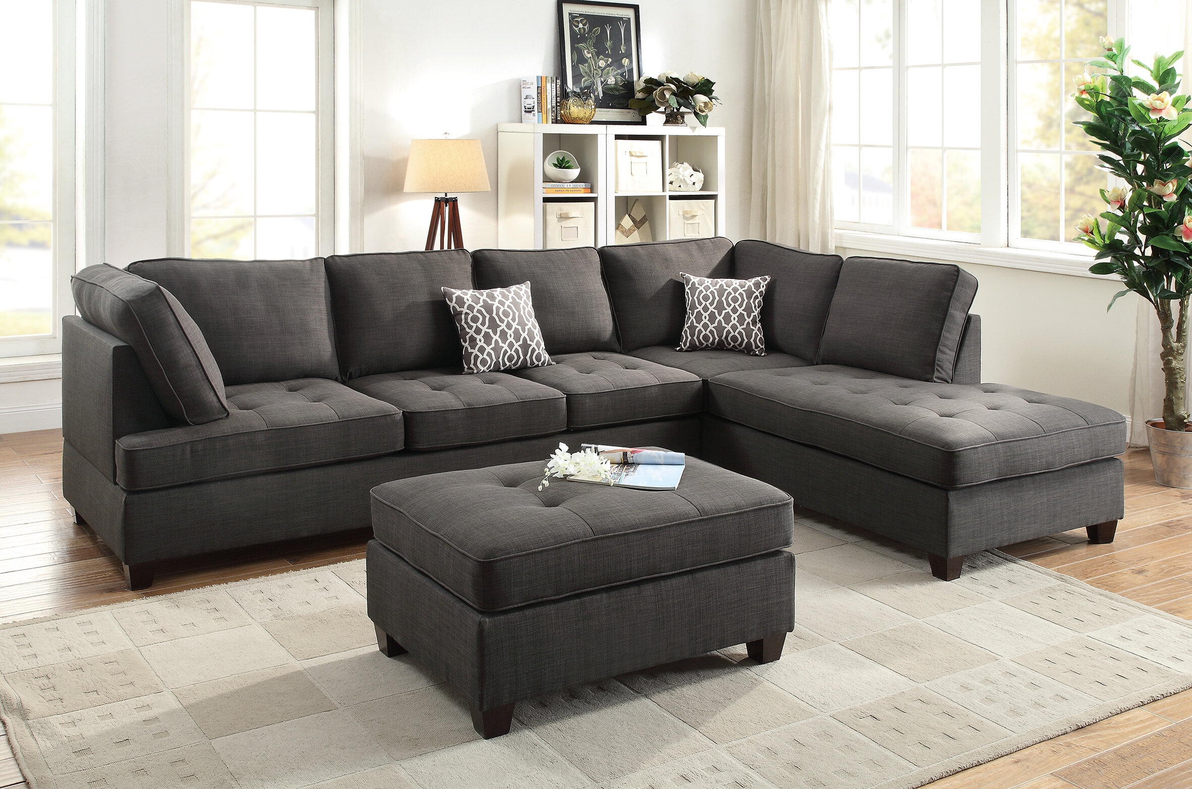 Charlton Home Allenhurst Right Hand Facing Sectional With Ottoman Reviews Wayfair