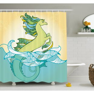 Animal Japanese Mythological Hippocampus Statue Fin in the Water Waves Legendary Art Shower Curtain Set
