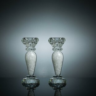 Radiant Gems Inside Crystal Candlestick (Set of 2)
