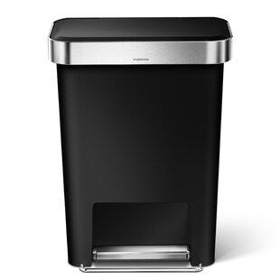 simplehuman 11.9 Gallon Rectangular Step Trash Can with Liner Pocket, Plastic