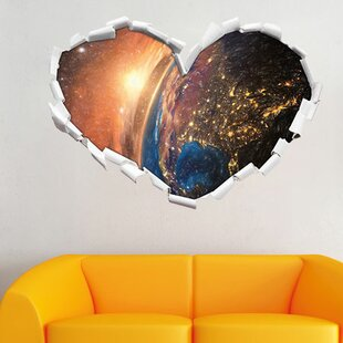 Detailed Colourful Earth 3D Rendering Wall Sticker By East Urban Home
