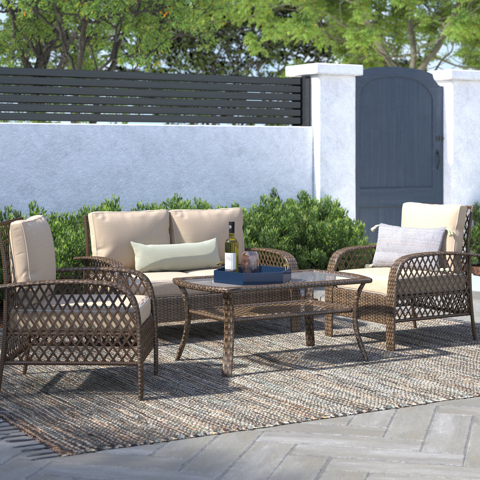 Beachcrest Home Tribeca 4 Piece Rattan Sofa Seating Group With Cushions Reviews Wayfair