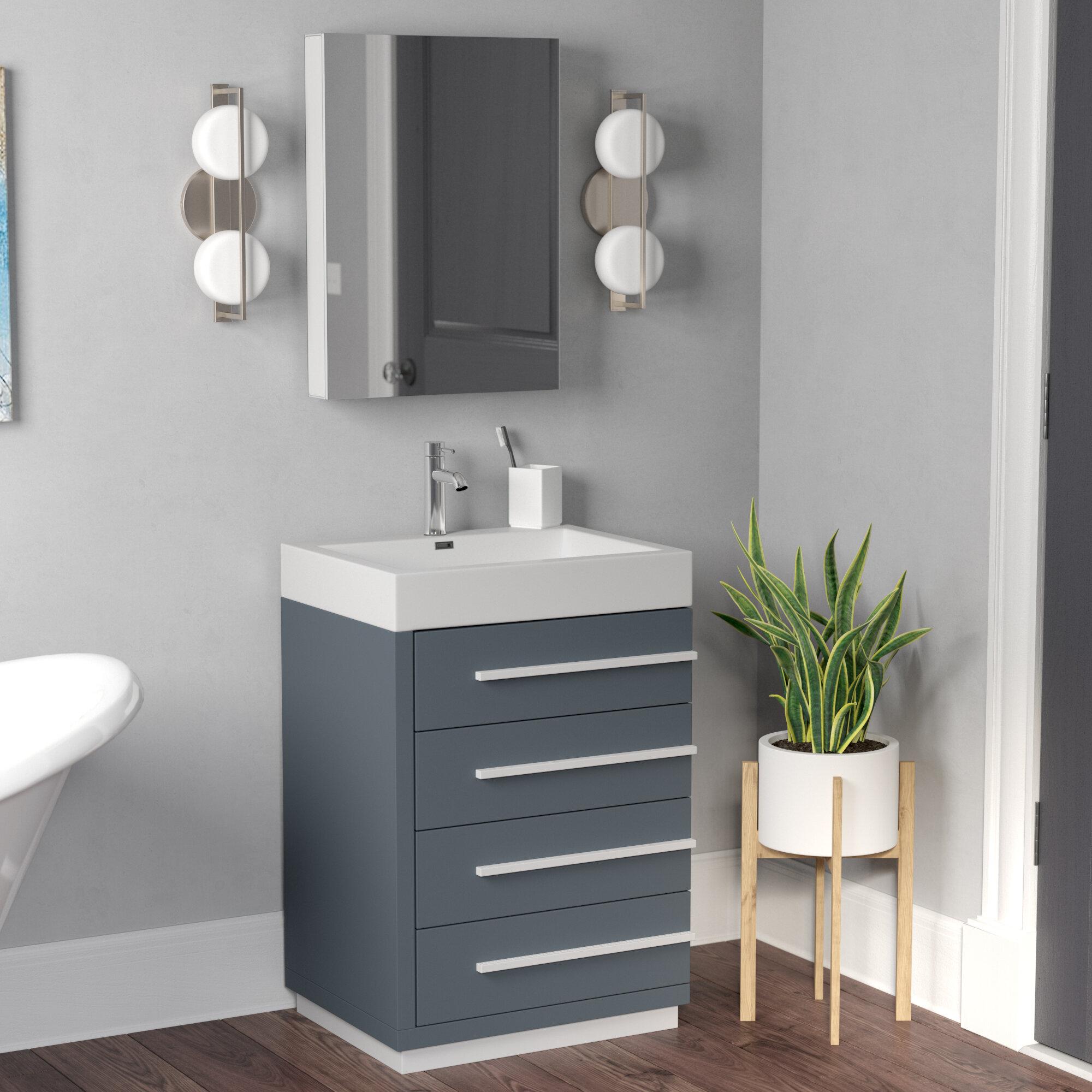 Brayden Studio Copher 23 Single Bathroom Vanity Set With White Top And Mirror Reviews Wayfair