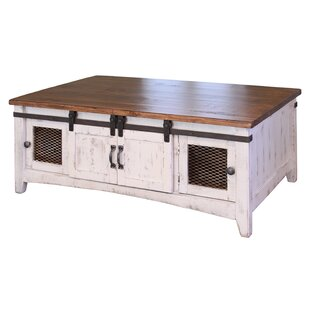 Frausto Barn Door Coffee Table with Storage