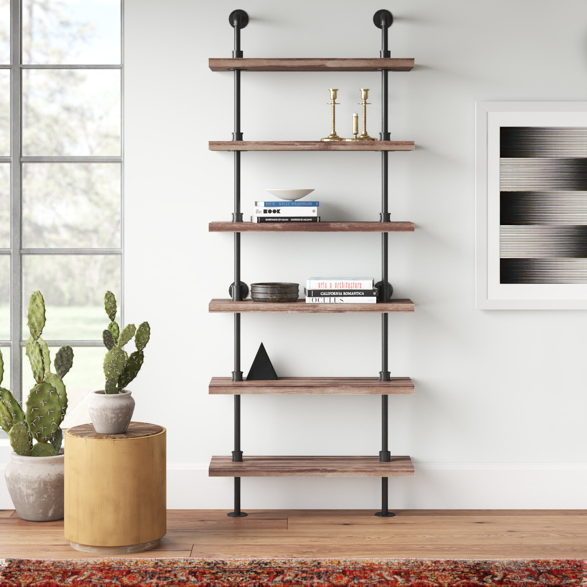 Tacoma Iron Pipe Wall Mount Ladder Bookcase Reviews Allmodern