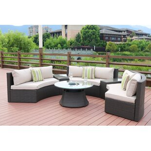 Mickens 6 Piece Rattan Sofa Seating Group with Cushions