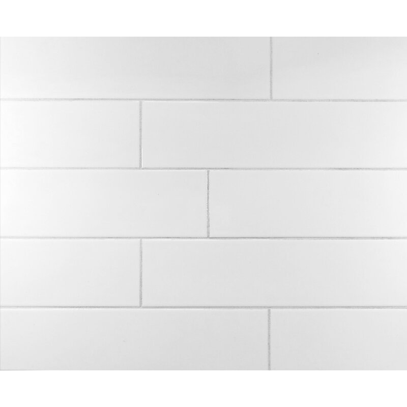 Mulia Tile Classic X Ceramic Subway Tile In Cool White - 16 x 16 white ceramic floor tile