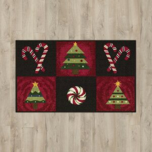Candy Canes Black Area Rug