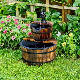 Backyard Expressions Wood 2-Tier Water Barrel Fountain