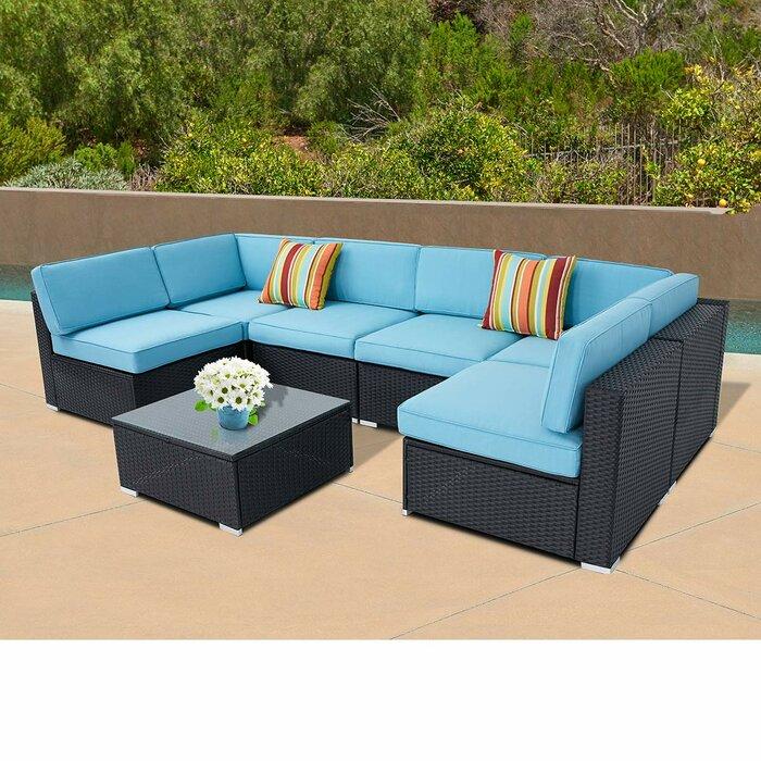 Rosenblum Outdoor 7-Piece Black Wicker Full Back Sectional Sofa Coffee  Table Set