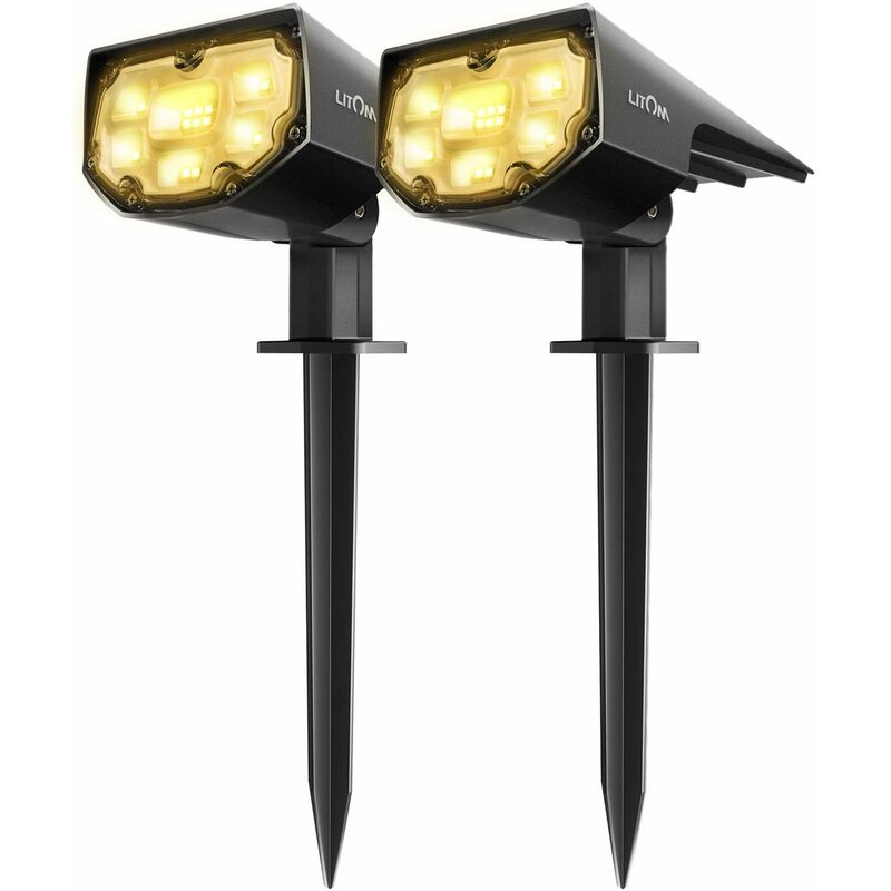 Litom Black Solar Powered Integrated Led Spot Light Pack Reviews Wayfair