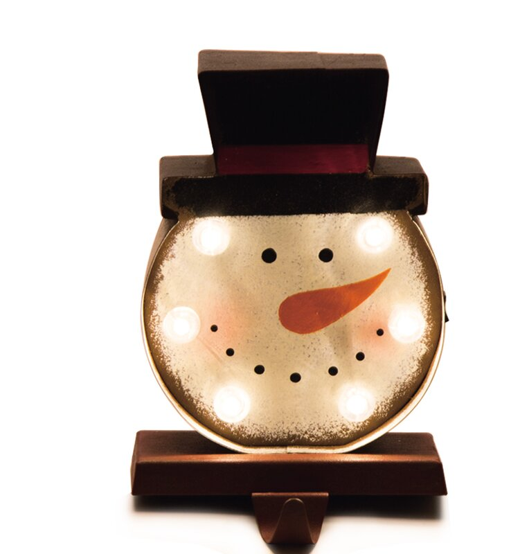 Battery Operated Marquee LED Lighted Snowman Head Christmas Stocking Holder