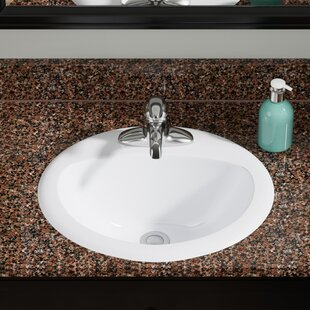 Inexpensive Vitreous China Oval Drop-In Bathroom Sink with Overflow By MR Direct